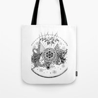 zentangle Tote Bags featuring Zentangle by Alex Vladoiu