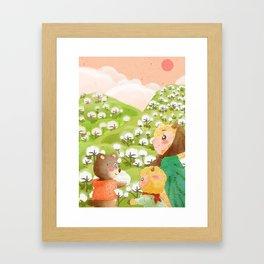 Girl And Cute Bear Framed Art Print