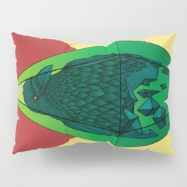 Geometric Crow in a diamond (tattoo style - color version) Pillow Sham
