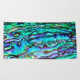 Glowing Aqua Abalone Shell Mother of Pearl Beach Towel