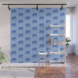 Paisley elephant, Cobalt Blue and White Wall Mural