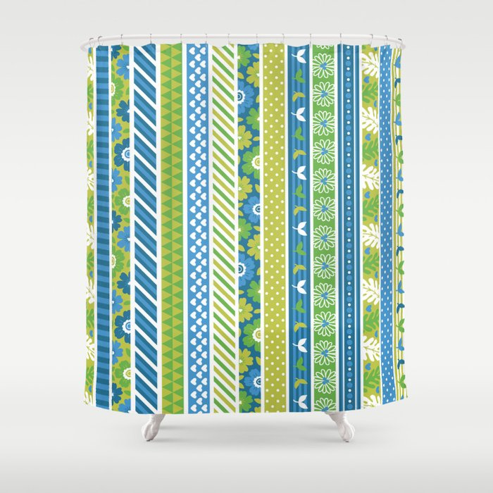 Geometrical Lime Green Blue Floral Stripes Patterns Shower Curtain