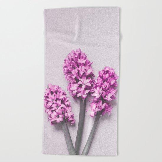 Pink Hyacinths Beach Towel