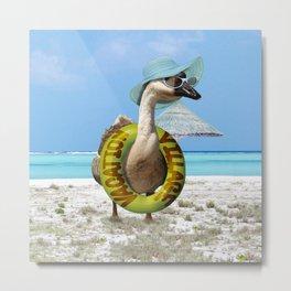 Summer Fun at the Beach ~ Vacation Goose! Metal Print