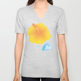 Hibiscus and Thunderhead reflected in a Drop of water_Y Unisex V-Neck