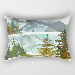Forest green teal blue watercolor hand painted landscape Rectangular Pillow