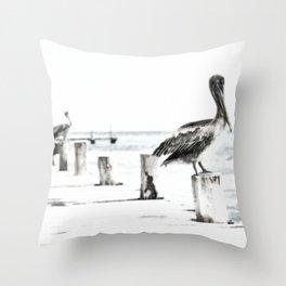 Pelican | Pelícano | The the long wait hunting Throw Pillow