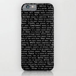 Top Grammar Mistakes From Homonyms: A Unique Gift for Writers and Editors (White Text on Black) iPhone Case