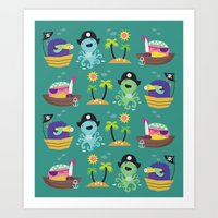 pirates Art Prints featuring Pirates by Maria Jose Da Luz