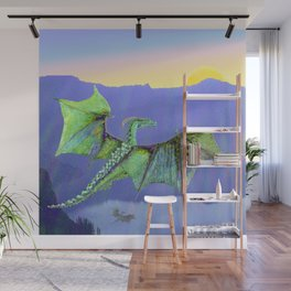 Green Crystal Water Dragon Wall Mural
