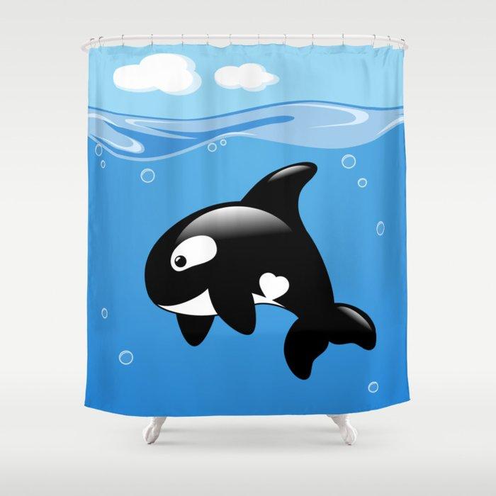 Orca Cute Killer Whale Shower Curtain