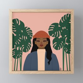 Girl vs. Monstera Framed Mini Art Print