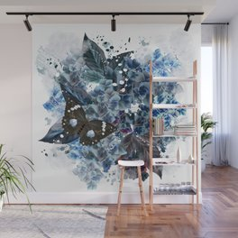Beautiful bright pattern with hydrangea flowers and butterflies Wall Mural