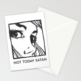 Not Today Satan Pop-Art Typography Stationery Cards