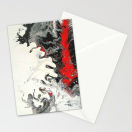 Black Red White Fluid Marble Painting Abstract Art Stationery Cards