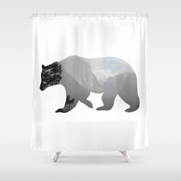 Grizzly Bear with Yosemite Photo Inlay Shower Curtain