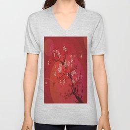 Kirschblütenzweig Unisex V-Neck