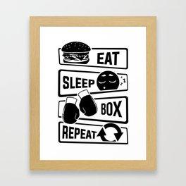 Eat Sleep Box Repeat - Boxing Boxer Uppercut Jab Framed Art Print