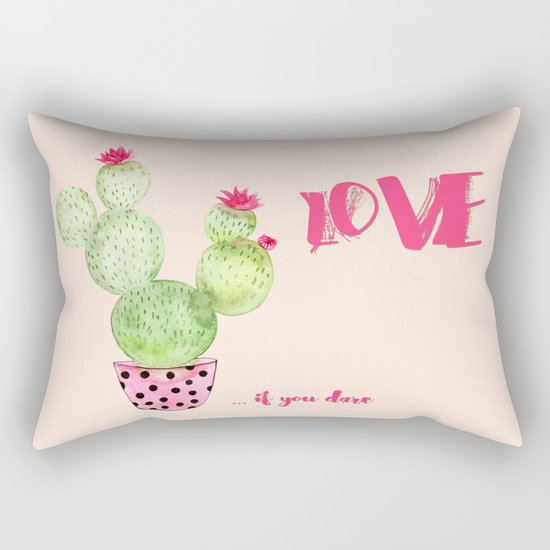 Love if you dare - Cactus watercolor illustration Rectangular Pillow