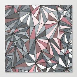 Urban Geometric Pattern on Concrete - Dark grey and pink Canvas Print