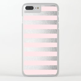 Stripes Moonlight Silver on Flamingo Pink Clear iPhone Case