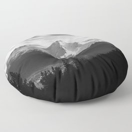 Mount Shasta Morning in Black and White Floor Pillow