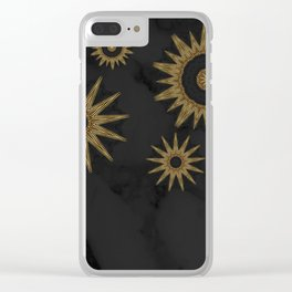 Gold Flower Mandalas over Black Marble Clear iPhone Case