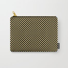 Black and Lemon Drop Polka Dots Carry-All Pouch