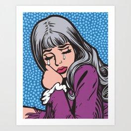 Silver Hair Sad Girl Art Print