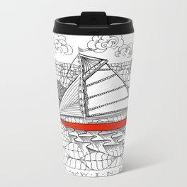 Sailors Dream Fair Winds Sailboat Zentangle Travel Mug