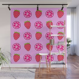 Tropical exotic grapefruit slices and sweet red strawberries summer fruity pastel baby pink cute pattern design. Wall Mural