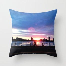 Bicycle Sunset Throw Pillow
