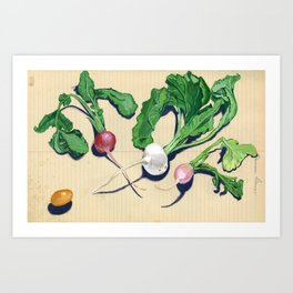Easter Egg Radishes in Gouache Art Print