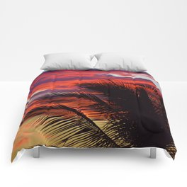 pomegranate sunset Comforters