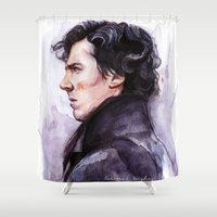 sherlock Shower Curtains featuring Sherlock by Coconut Wishes