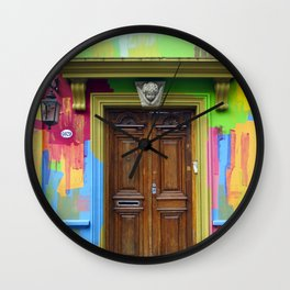 Painted Entrance, Palermo, Buenos Aires Wall Clock