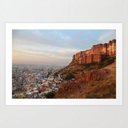 Sunrise on Mehrengarh fort, Jodhpur, India Art Print