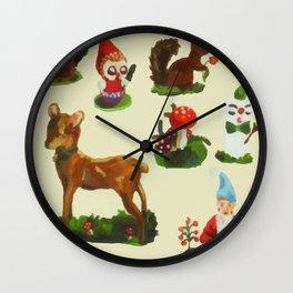 Vintage Christmas Woodland Deer Santa Snowman Watercolor Wall Clock