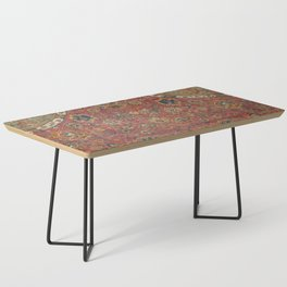 Persian Medallion Rug IV // 16th Century Distressed Red Green Blue Flowery Colorful Ornate Pattern Coffee Table