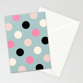 Geometric Orbital Spot Circles In Pink Black White & Green Stationery Cards