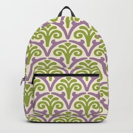 Floral Scallop Pattern Lavender and Chartreuse Backpack