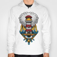 lighthouse Hoodies featuring Lighthouse by hvelge