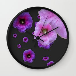 ASYMMETRICAL  PINK-PURPLE  HOLLYHOCKS ON DARK CHARCOAL GREY ART Wall Clock