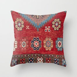 Tribal Honeycomb Palmette // 19th Century Authentic Colorful Red Aztec Flower Accent Pattern Throw Pillow
