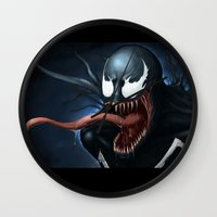 venom Wall Clocks featuring Venom by Fr0stArt