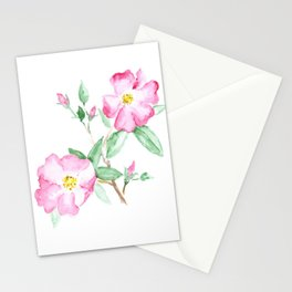 Wild Rose Watercolor Art, Pink Flower Painting, Nature Art, Flowers Stationery Cards