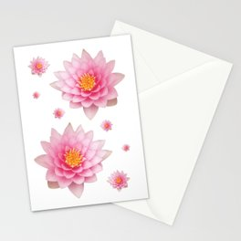 Pink Water Lotuses / Lilies Stationery Cards
