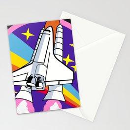 pink rainbow rocket Stationery Cards