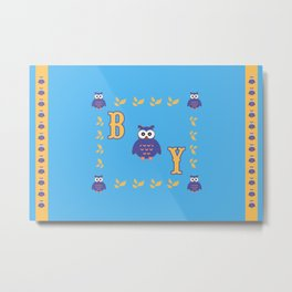 Owl Baby Boy Metal Print