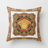 versace Throw Pillows featuring Classic Versace by Goldflakes